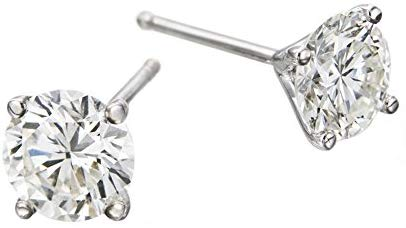 IGI Certified 1.00-0.40 cttw  Diamond Stud Earrings in 14K White Gold, Screwback (1.00-0.40 cttw, J-K Color, I1-I2 Clarity)