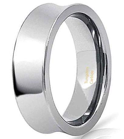 CERTIFIED 7mm High Polish Tungsten Concave Wedding Band Ring