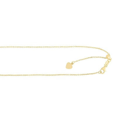 14k Gold Rose Finish 0.7mm Shiny Cable Chain Necklace With Lobster Clasp - 22 Inch