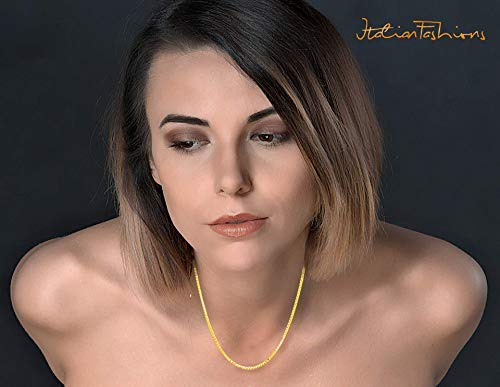 kim 14K Solid Yellow and White and Rose Gold 0.5 MM,0.8 MM,1.1 MM,1.3 MM Italian Diamond Cut Box Chain Necklace Thin Strong with Lobster Claw Clasp FREE Gift with Order