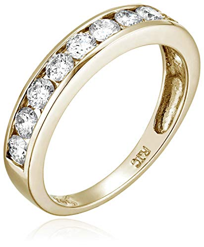AGS Certified 1 cttw Diamond Wedding Band 14K Gold Channel I1-I2