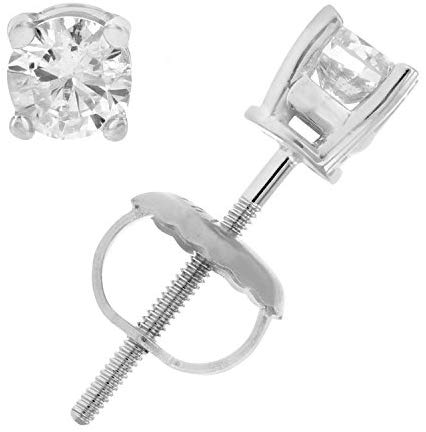 AGS Certified 1/3 cttw Diamond Stud Earrings 14K White or Yellow Gold with Screw Back I1-I2