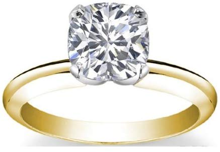 18K Yellow Gold Solitaire Diamond Engagement Ring Cushion Cut (K Color VVS2 Clarity 1.2 ctw)