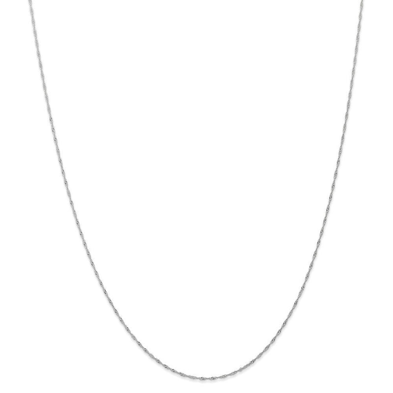CERTIFIED  14k White Gold 1mm Singapore Chain (CARDED)