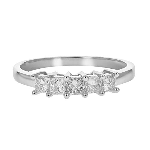 CERTIFIED 1/2 CT 5-Stone Princess Diamond Ring in 14K White Gold Near Colorless (H-I)