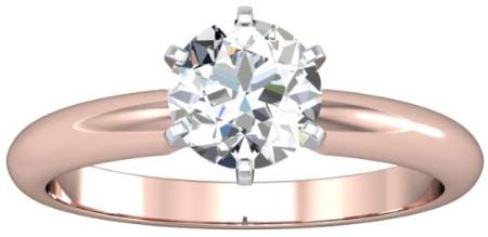 14K Rose Gold Solitaire Diamond Engagement Ring Round Brilliant Cut (H Color SI2 Clarity 0.7 ctw)