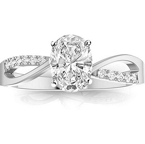 bik 1.08 Ctw 14K White Gold Elegant Intertwine Twisting Split Shank Oval Cut GIA Certified Diamond Engagement Ring (1 Ct J Color SI2 Clarity Center Stone)
