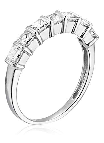 CERTIFIED 1/2 CT Princess Diamond Wedding Band in 14K Gold
