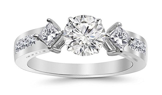 1.25 Carat 14K White Gold Channel Set Past Present Future 3 Stone Princess GIA Certified Round Cut Diamond Engagement Ring (0.5 Ct F Color SI2 Clarity Center Stone)