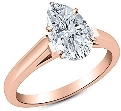 0.5 1/2 Ct GIA Certified Pear Cut Cathedral Solitaire Diamond Engagement Ring 14K White Gold (I Color VVS1 Clarity)