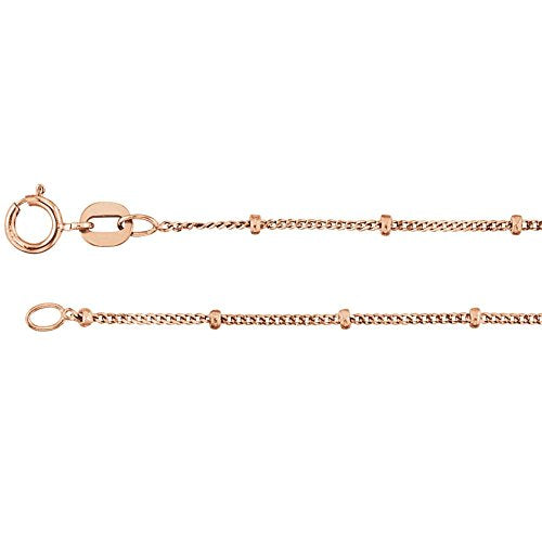 reamra CERTIFIED 14K Rose Gold 1mm Solid Beaded Curb Chain