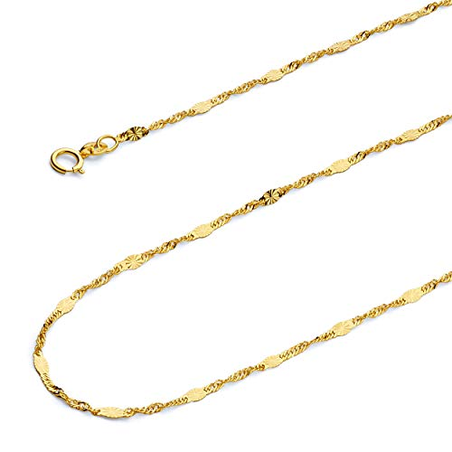 Wellingsale 14k Yellow Gold SOLID 1.3mm Polished Singapore Diamond Cut Chain Necklace