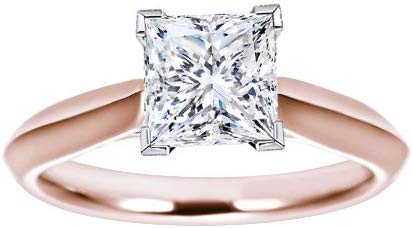 IGI Certified 1 Carat Princess Cut/Shape 14K White Gold Solitaire Diamond Engagement Ring 4 Prong (I-J Color, VVS2-VS1 Clarity)