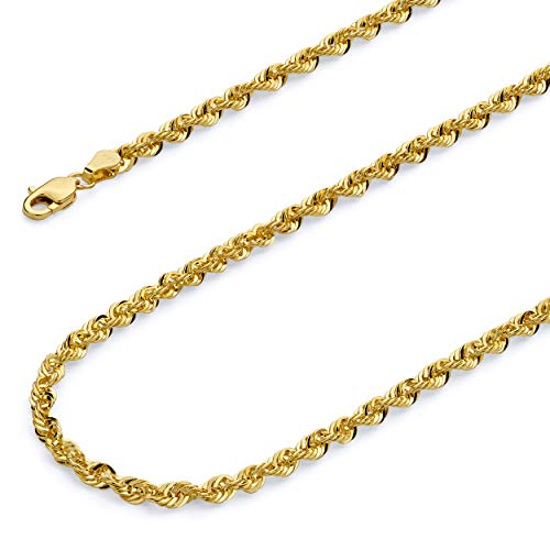 CERTIFIED 14k REAL Yellow Gold 2.5mm French Hollow Rope Chain Necklace with Lobster Claw Clasp
