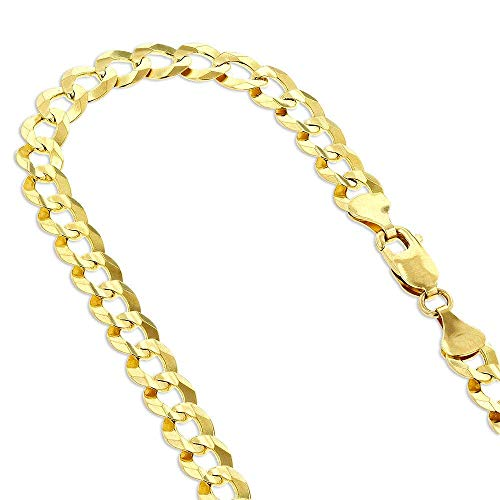 "CERTIFIED TheDiamondDeal Mens Solid 14K Yellow Gold Or White Gold 3.6mm Shiny Cuban Comfort Curb Chain Necklace For men for Pendants and Or Bracelet with Lobster-Claw Clasp (7"", 18"", 20"" 22"" 24"" or 30 inch)"