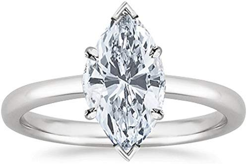 3/4 Carat GIA Certified 14K White Gold Solitaire Marquise Cut Diamond Engagement Ring (0.75 Ct G-H Color, I1 Clarity)