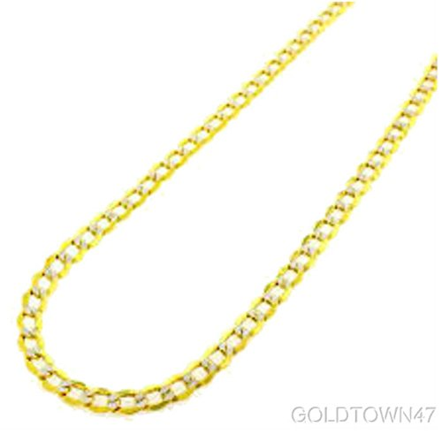 CERTIFIED 14k Yellow Gold Cuban Curb White Pave Hollow Chain Necklace