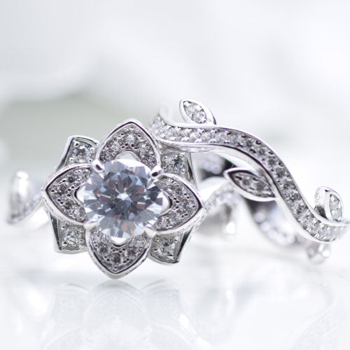 CERTIFIED 3.00 cttw Flower Wedding Rings Engagement Ring 925 Sterling Silver Cz