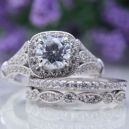 CERTIFIED 2 cttw Wedding Rings  Engagement Set 925 Sterling Silver White AAA Cz