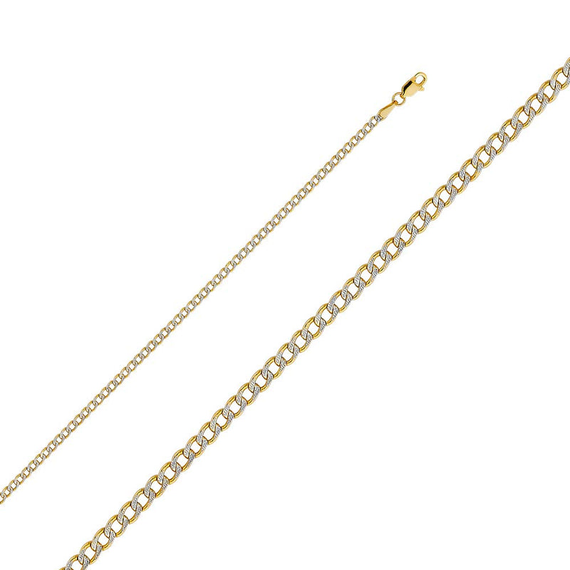 CERTIFIED ellingsale 14k Yellow Gold 2mm Polished HOLLOW Cuban Concaved Curb White Pave Diamond Cut Chain Necklace