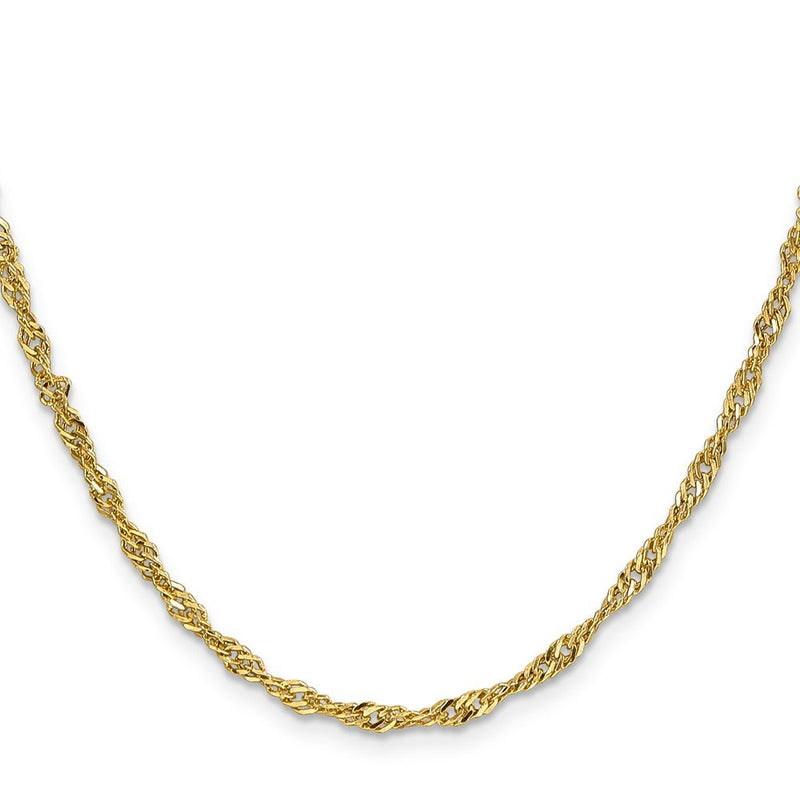 CERTIFIED Brilliant Bijou 14k Yellow Gold Lightweight Singapore Chain Necklace