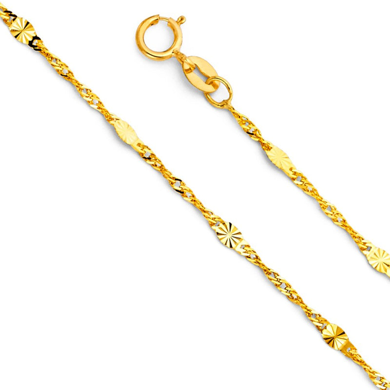 CERTIFIED Wellingsale 14k Yellow Gold SOLID 1.3mm Polished Singapore Diamond Cut Chain Necklace