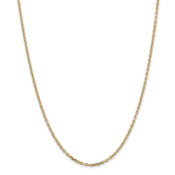 14k Yellow Gold 2.2mm Link Cable Chain Necklace 30 Inch Pendant Charm Round Fine Jewelry Gifts For Women For Her
