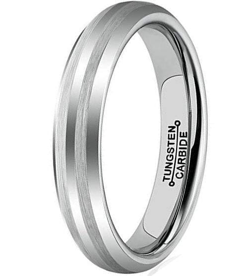 4mm Tungsten Carbide Matte Finish Brushed Bands  Wedding Engagement Ring.