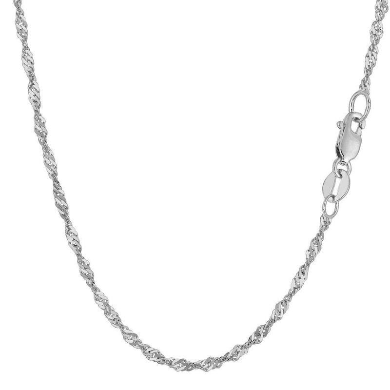 "CERTIFIED 14K Yellow or White Gold 2.1mm Shiny Diamond-Cut Classic Singapore Chain Necklace for Pendants and Charms with Lobster-Claw Clasp (7""10"" 16"" 18"" 20"" or 24"" inch)"