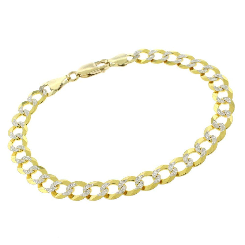 CERTIFIED 5.7mm Two Tone 14K Gold Diamond-Cut Cuban Necklace and Bracelet Set