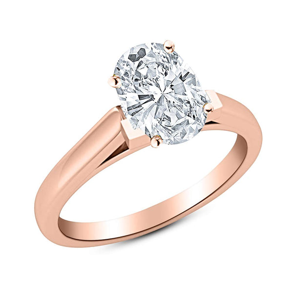 1 Ct GIA Certified Oval Cut Cathedral Solitaire Diamond Engagement Ring 14K White Gold (E Color SI1 Clarity)