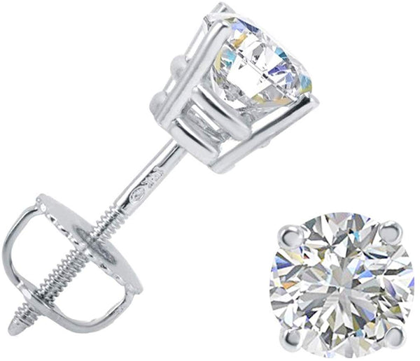 AGS Certified (E-F) Color 1ct TW Round Diamond Solitaire Stud Earrings in 14K Gold with Screw Backs