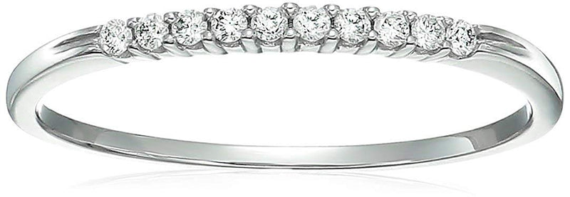 CERTIFIED /10 cttw Petite Diamond Wedding Band in 10K White Gold Prong Set