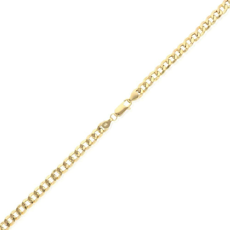 "CERTIFIED 14k Yellow Gold 6.5mm Hollow Cuban Curb Chain Necklace 20"" 22"" 24"" 26"" 28"" 30"", 20"