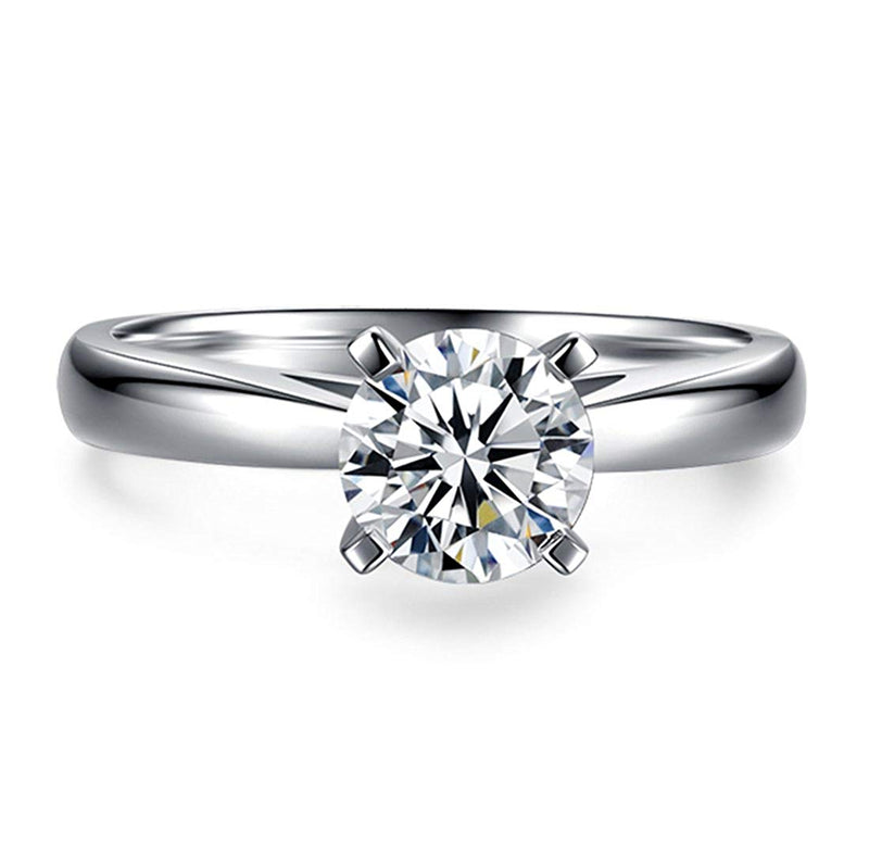 CERTIFIED 1 Carat Round Brilliant Solitaire CZ Sterling Silver 925 Wedding Engagement Ring