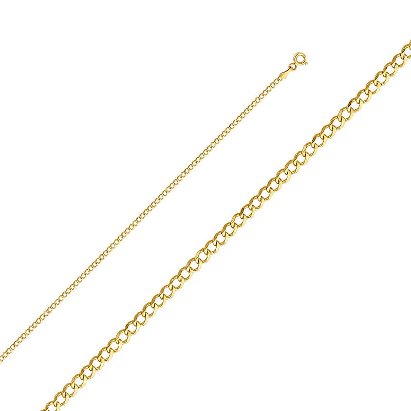 CERTIFIED Wellingsale 14k Yellow Gold SOLID 2mm Polished Cuban Concaved Curb Chain Necklace with Spring Ring Clasp