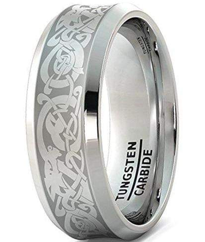 CERTIFIED 8mm Tungsten Ring Wedding Band Curved Dragon Beveled Edge