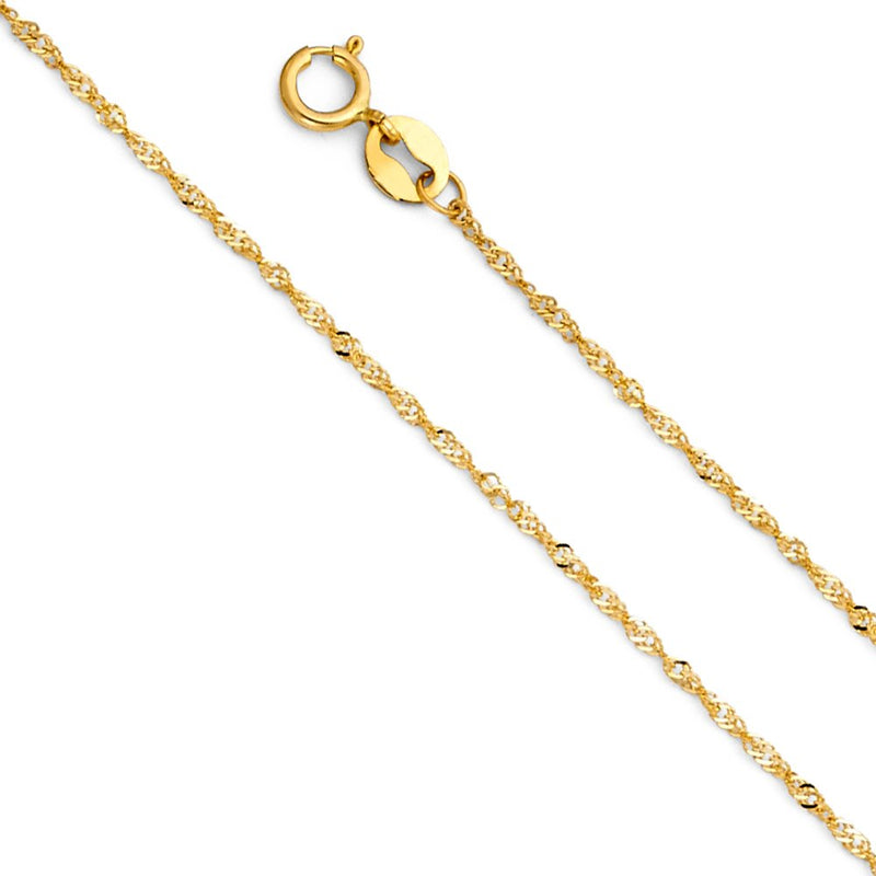 CERTIFIED Wellingsale 14k Yellow Gold SOLID 0.9mm Polished Singapore Chain Necklace with Spring Ring Clasp