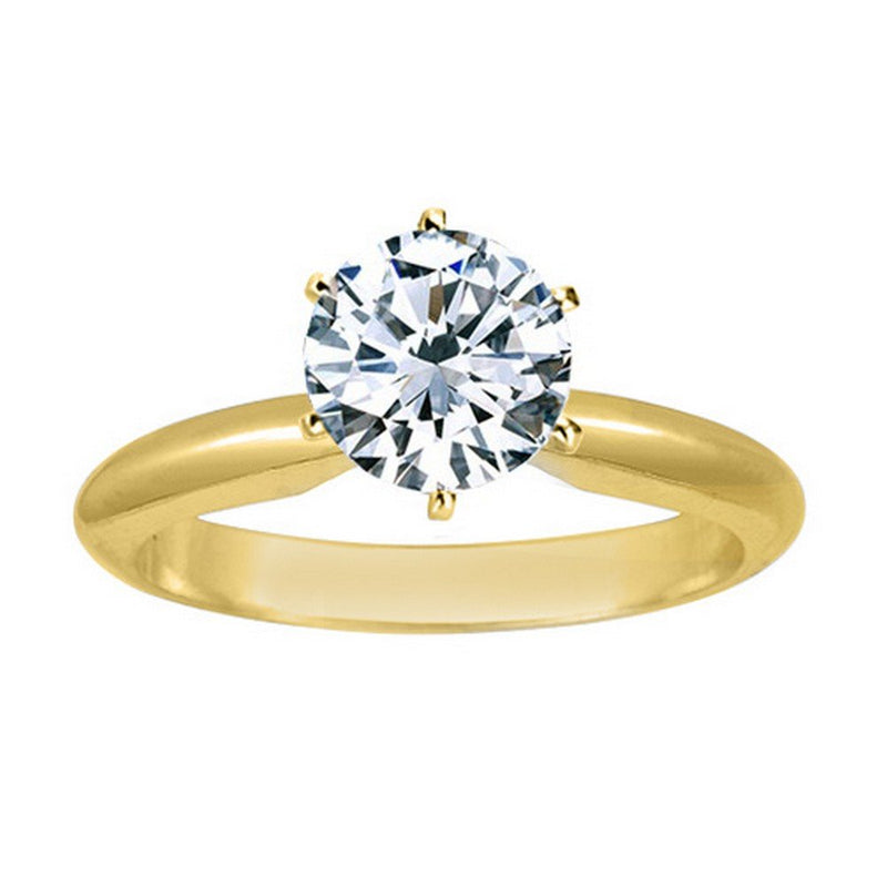1 Ct GIA Certified Round Cut 6 Prong Solitaire Diamond Engagement Ring 14K White Gold (I Color SI2 Clarity)