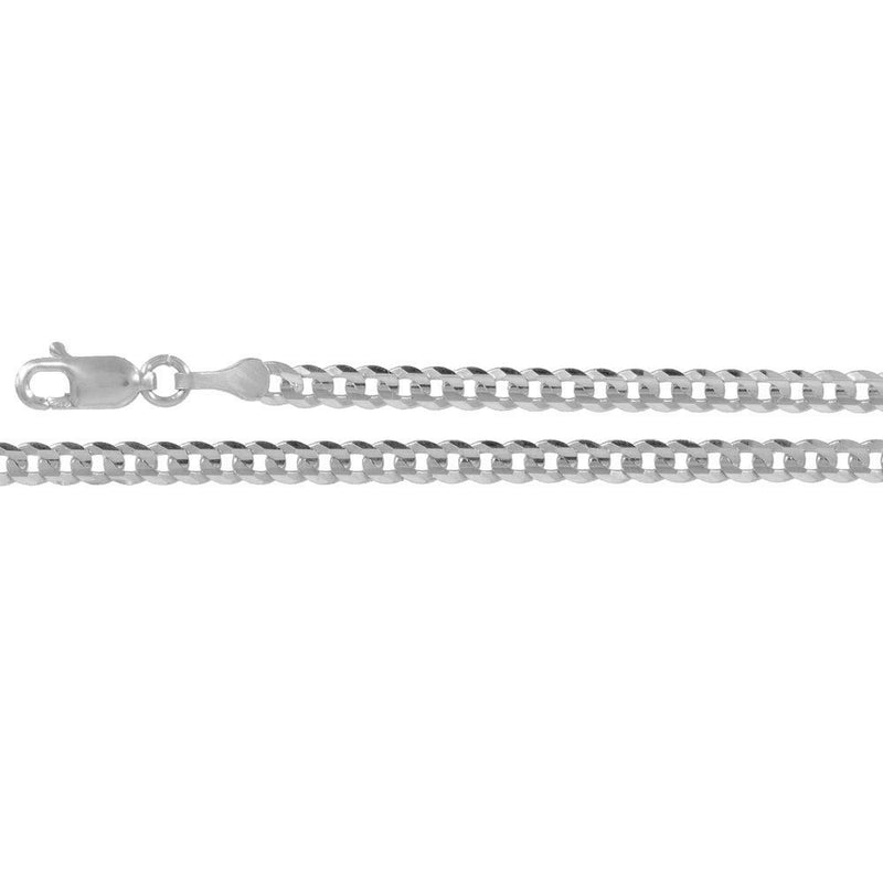 CERTIFIED Forever Flawless Jewelry 14K White Gold 3.2mm Concave Curb Classic Link Chain Necklace