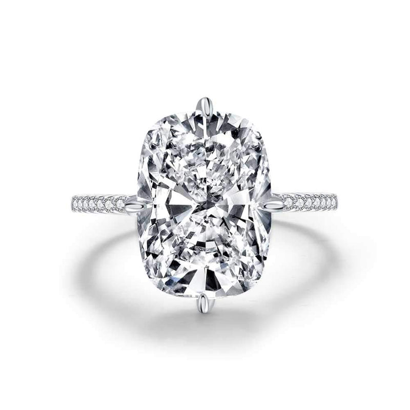 CERTIFIED 6ct Cushion Cut Cubic Zirconia CZ Solitaire Engagement Ring