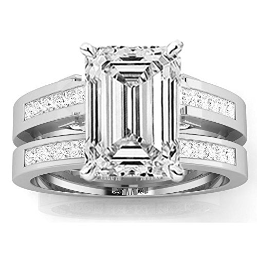 3.5 Ctw 14K White Gold Channel Princess Cut GIA Certified Diamond Engagement Ring Bridal Set Emerald Shape (3 Ct J Color VS2 Clarity Center Stone)