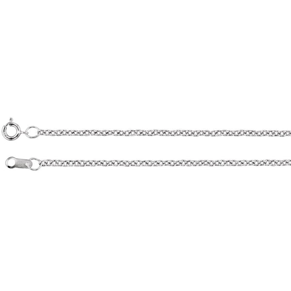1.5mm 10K White Gold  Solid Cable Chain Necklace 18 inch