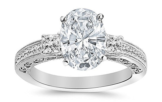 3.5 Ctw 14K White Gold Three 3 Stone Princess Cut Channel Set Oval Cut GIA Certified Diamond Engagement Ring (3 Ct E Color SI2 Clarity Center Stone)