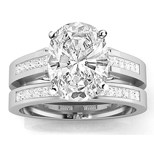 3.5 Ctw 14K White Gold Channel Princess Cut GIA Certified Diamond Engagement Ring Bridal Set Oval Shape (3 Ct H Color SI1 Clarity Center Stone)