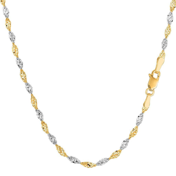 "CERTIFIED 14K Two-Tone Yellow and White Gold 2.00mm Shiny Diamond-Cut Classic Singapore Chain Necklace for Pendants and Charms with Lobster-Claw Clasp (16"" 18"" or 20"" inch)"