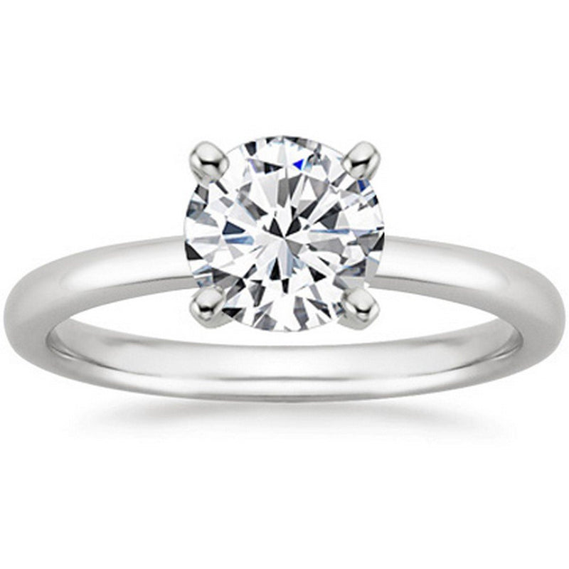 1/2 Ct GIA Certified Round Cut 4 Prong Solitaire Diamond Engagement Ring 14K White Gold (D Color SI1 Clarity)