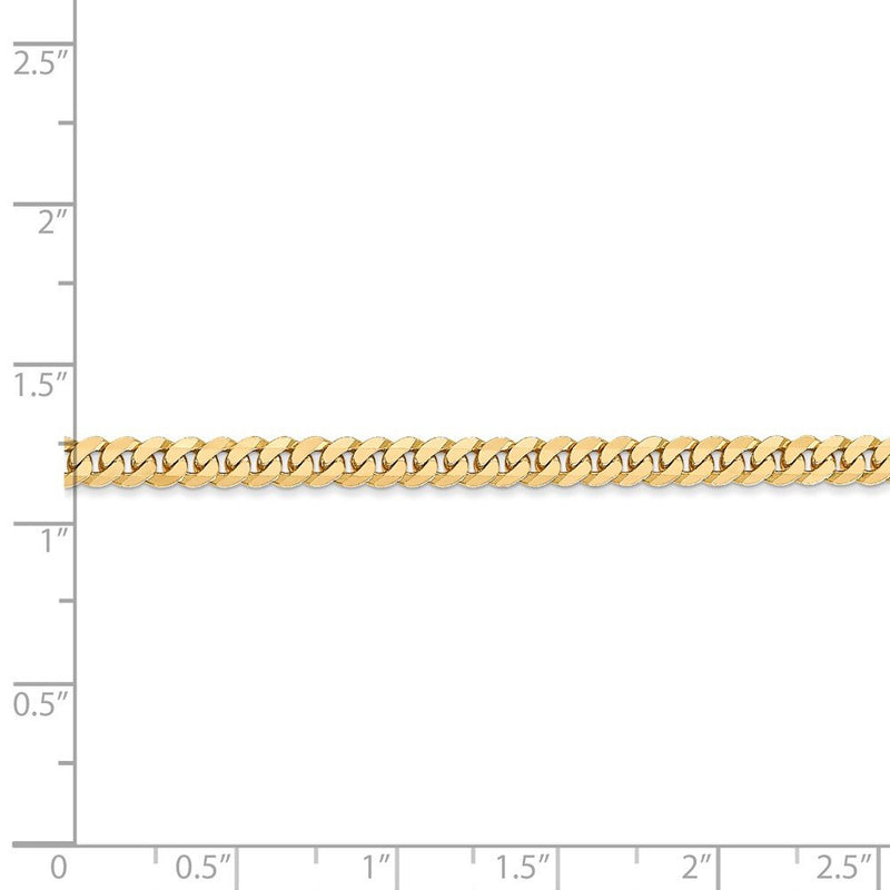 CERTIFIED  Solid 14K Yellow Gold 3.9mm Beveled Curb Chain