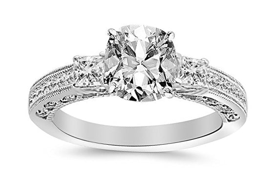 1.4 Ctw 14K White Gold Three 3 Stone Princess Cut Channel Set GIA Certified Diamond Engagement Ring Cushion Cut (0.9 Ct H Color VS2 Clarity Center Stone)