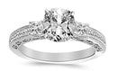 2.9 Ctw 14K White Gold Three 3 Stone Princess Cut Channel Set GIA Certified Diamond Engagement Ring Cushion Cut (2.4 Ct I Color SI2 Clarity Center Stone)